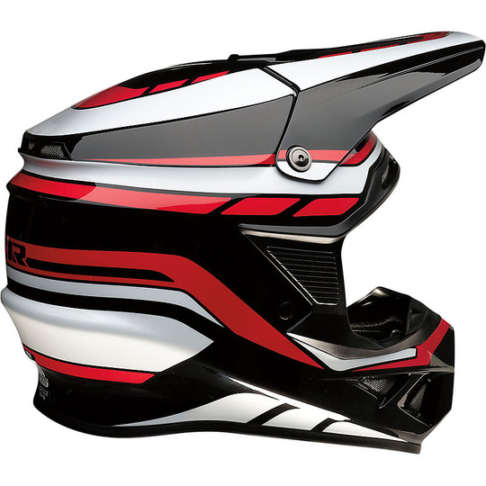 Casque Moto Cross Enduro Z1r FI Flanck Noir Blanc Rouge Brain Protection