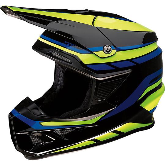 Casque Moto Cross Enduro Z1r FI Flanck Noir Jaune Bleu Cerveau Protection