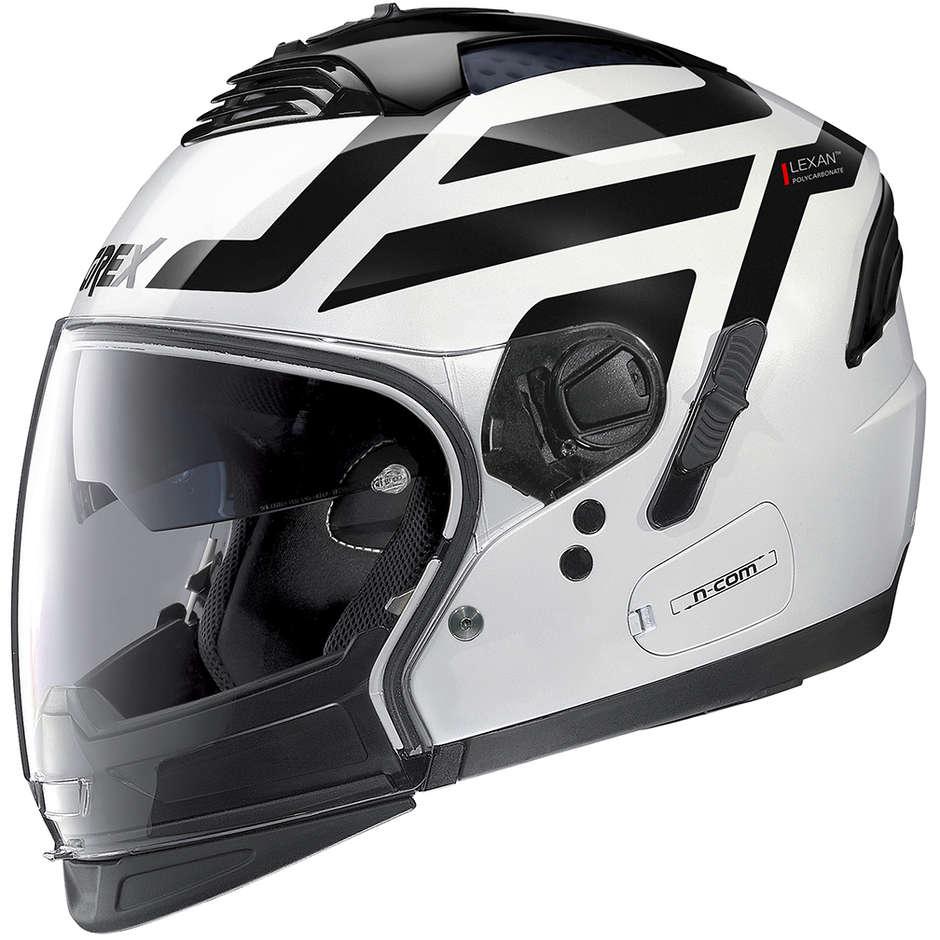 Casque Moto CrossOver Approuvé P / J Grex G4.2 Pro CROSSLAND N-Com 036 Blanc Métal