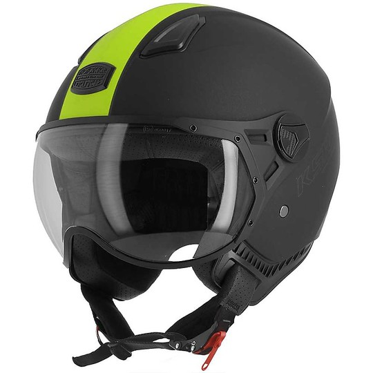 Casque moto Demi Jet Astone KSR-2 Matt Black Yellow