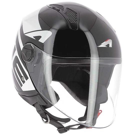 Casque moto Demi-Jet Astone MINIJET LINK Noir Blanc brillant
