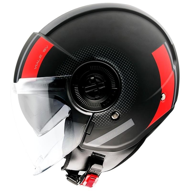 Casque moto Demi-Jet Mt Casque VIALE Sv PHANTOM C5 Matt Black Red