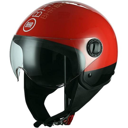 Casque Moto Demi-Jet Visière Arrondie BHR 801 Style Rouge