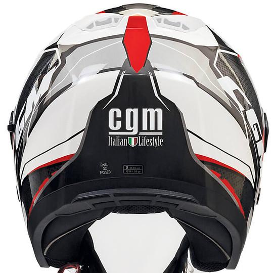 Casque Moto Double Visière Jet CGM 130s MAYER Blanc Rouge