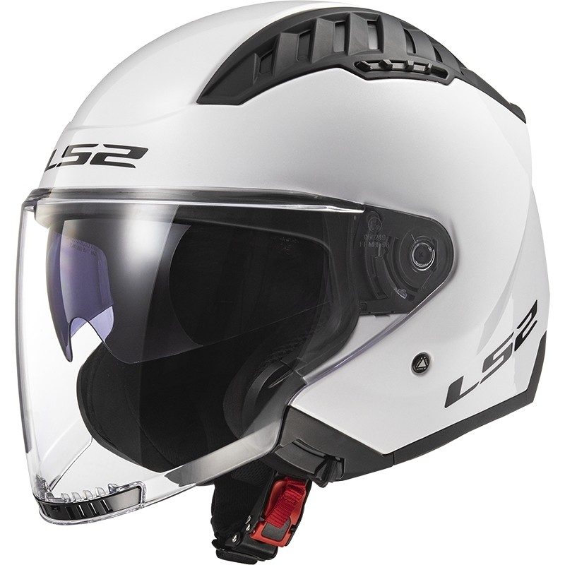 Casque Moto Double Visière Jet Ls2 OF600 Copter Solid White