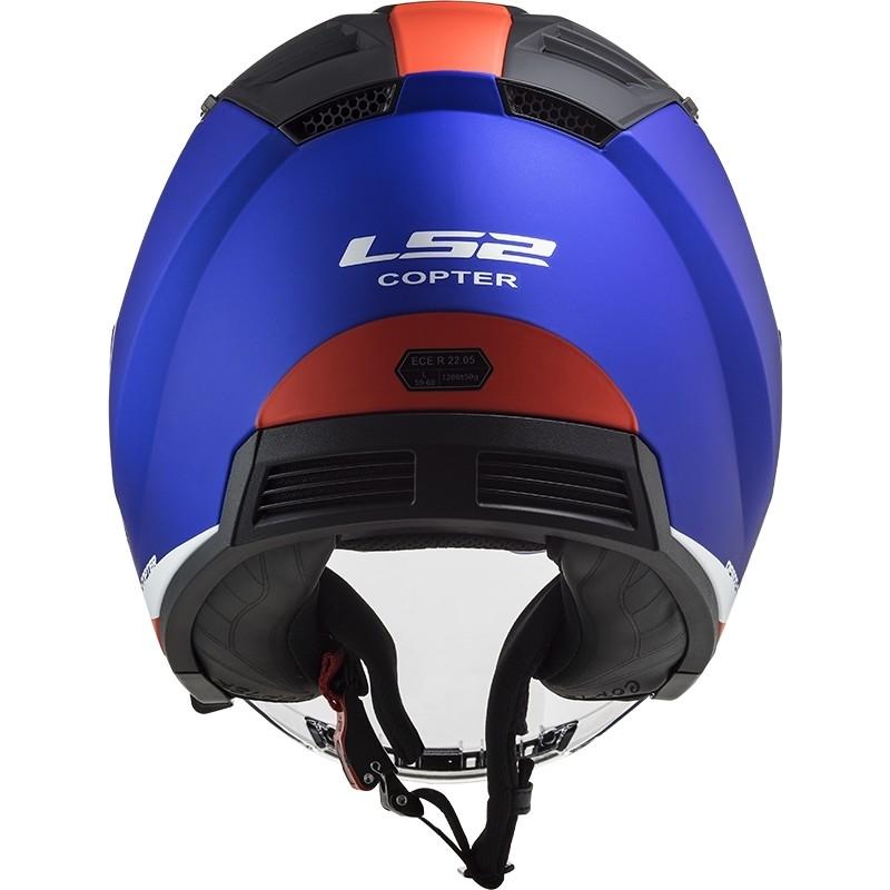Casque Moto Double Visière Jet Ls2 OF600 Copter URBANE Bleu Rouge