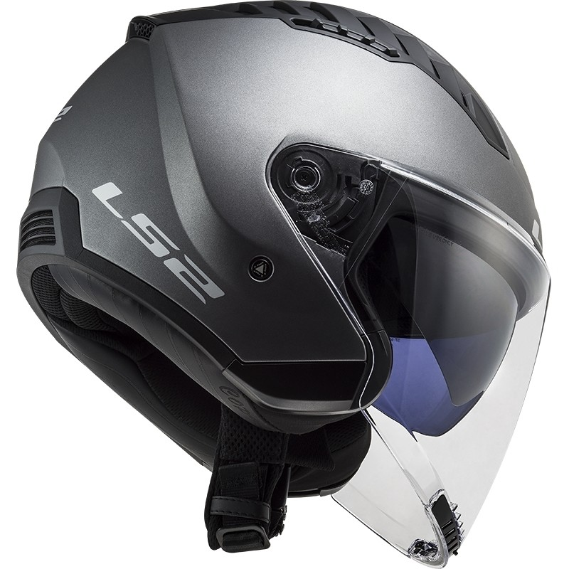 Casque Moto Double Visière Jet Ls2 OF600 Solid Copter Matt Titanium