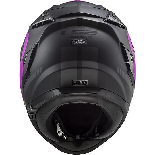 Casque Moto En Fibre HPFC LS2 FF327 CHALLENGER Fusion Rose Titane Mat
