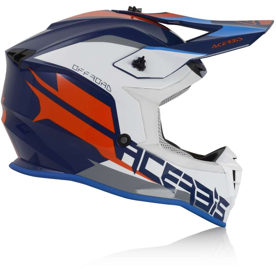 Casque Moto Enduro Acerbis LINEAR Bleu Blanc Cross