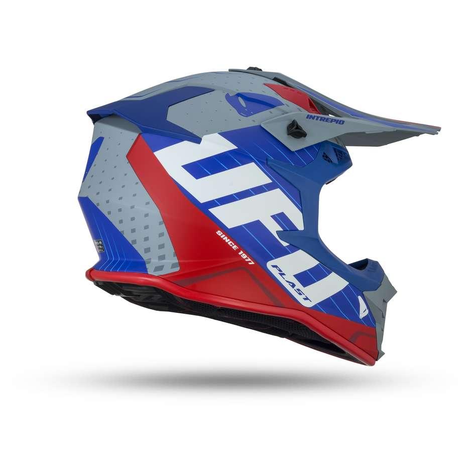 Casque Moto Enduro UFO Intrepid Bleu Gris Croix Rouge