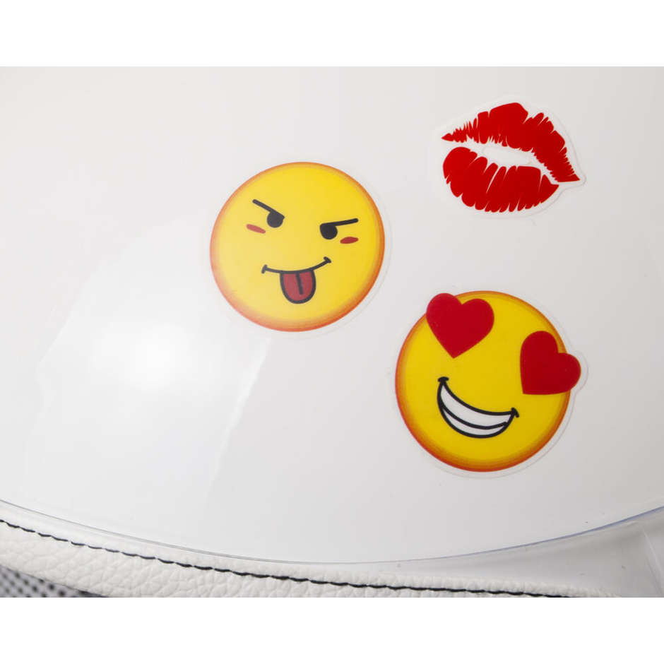 Casque moto enfant CGM 205s MAGIC SMILE longue visière blanche