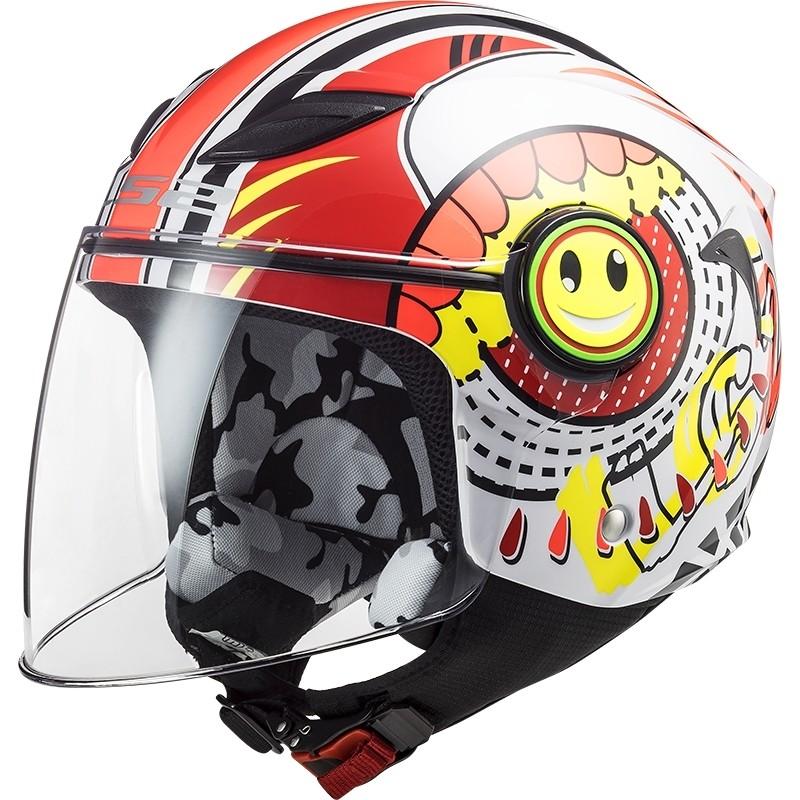 Casque Moto Enfant Jet Ls2 OF602 FUNNY Sluch Rouge Blanc