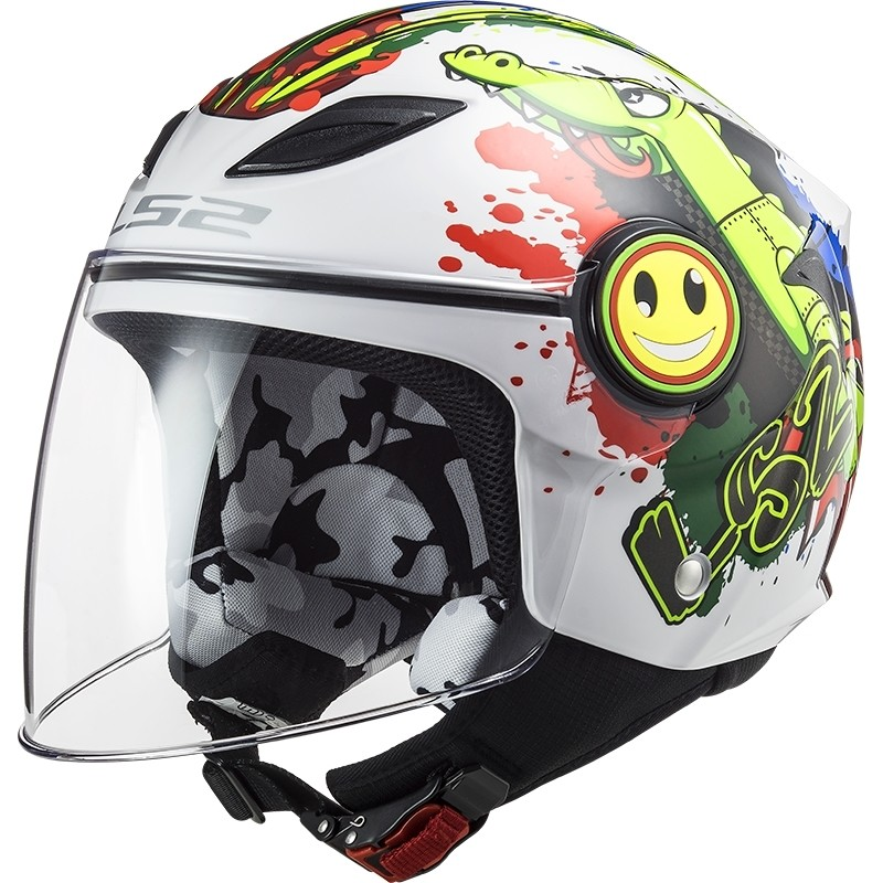 Casque Moto Enfant Ls2 OF602 FUNNY Croco Blanc