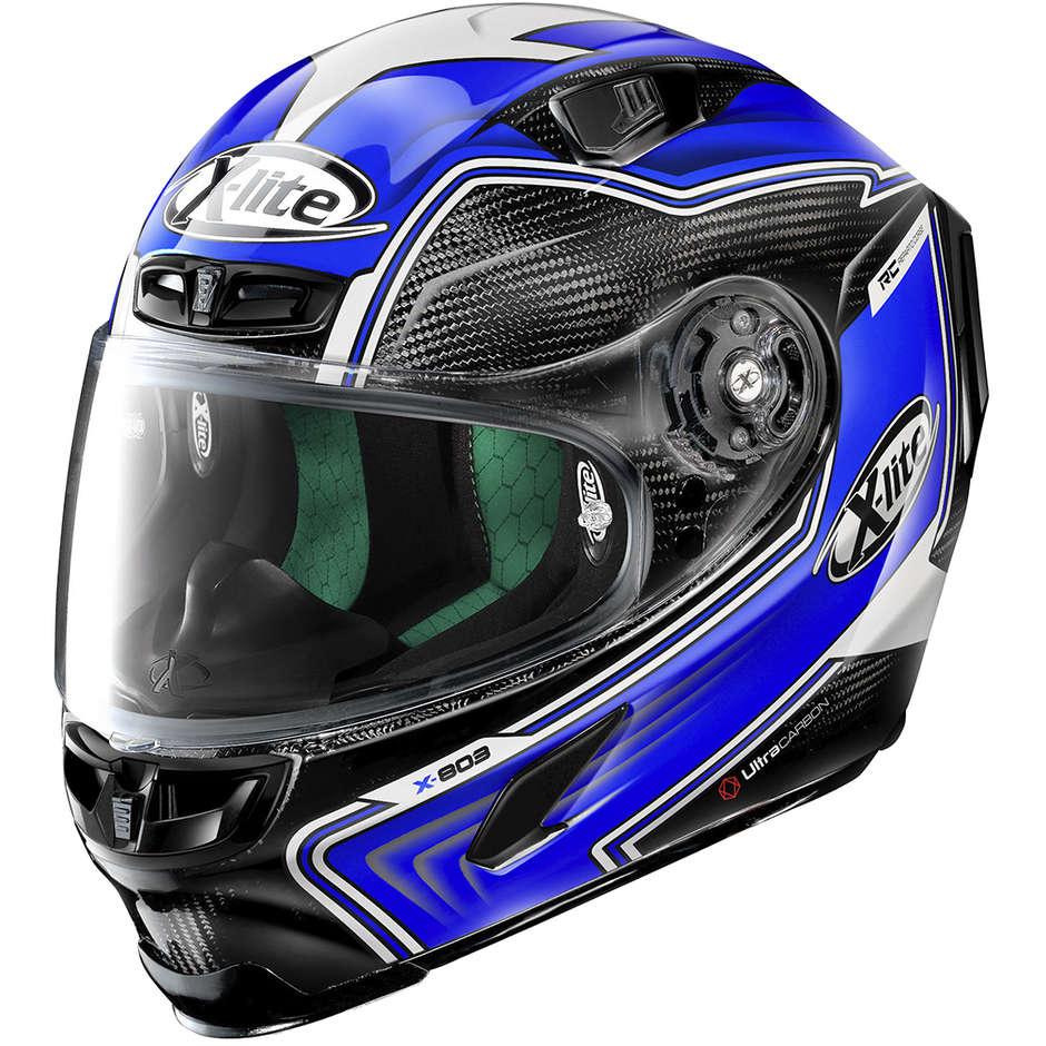 Casque Moto Full Carbon X-Lite X-803 Ultra Carbon HANGAR 070 Bleu Noir