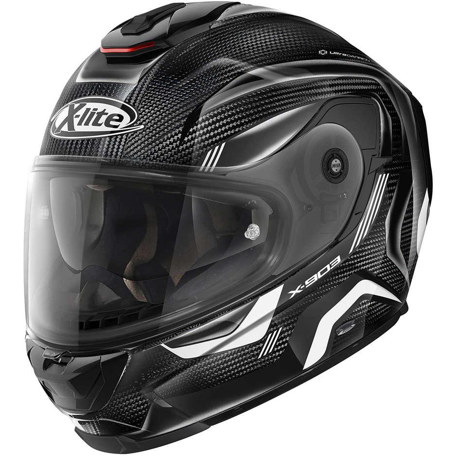 Casque Moto Full Carbon X-Lite X-903 Ultra Carbon ELEKTRA N-Com 039 Blanc