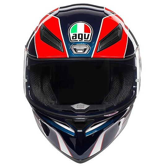 Casque moto intégral AGV K-1 Multi PITLANE Bleu Rouge Jaune