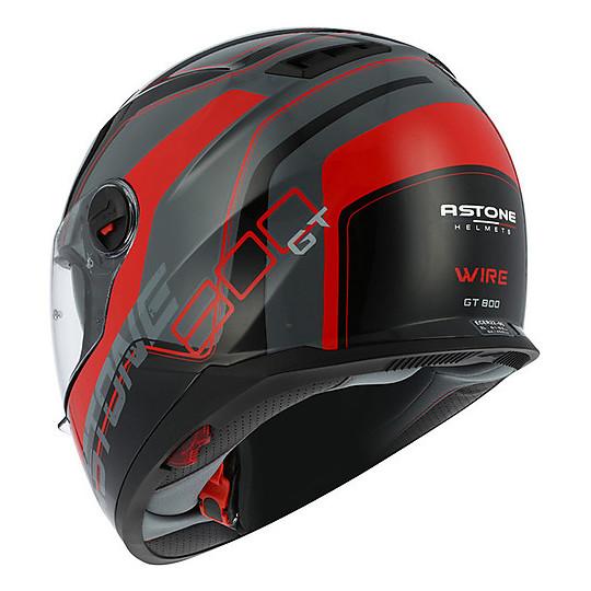 Casque Moto Intégral Astone Gt 800 Double Visor Wire Black Red