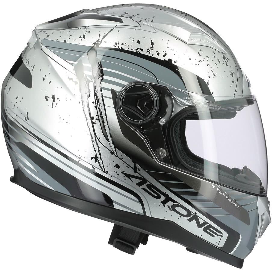 Casque moto intégral Astone GT2 GEKO Glossy Silver