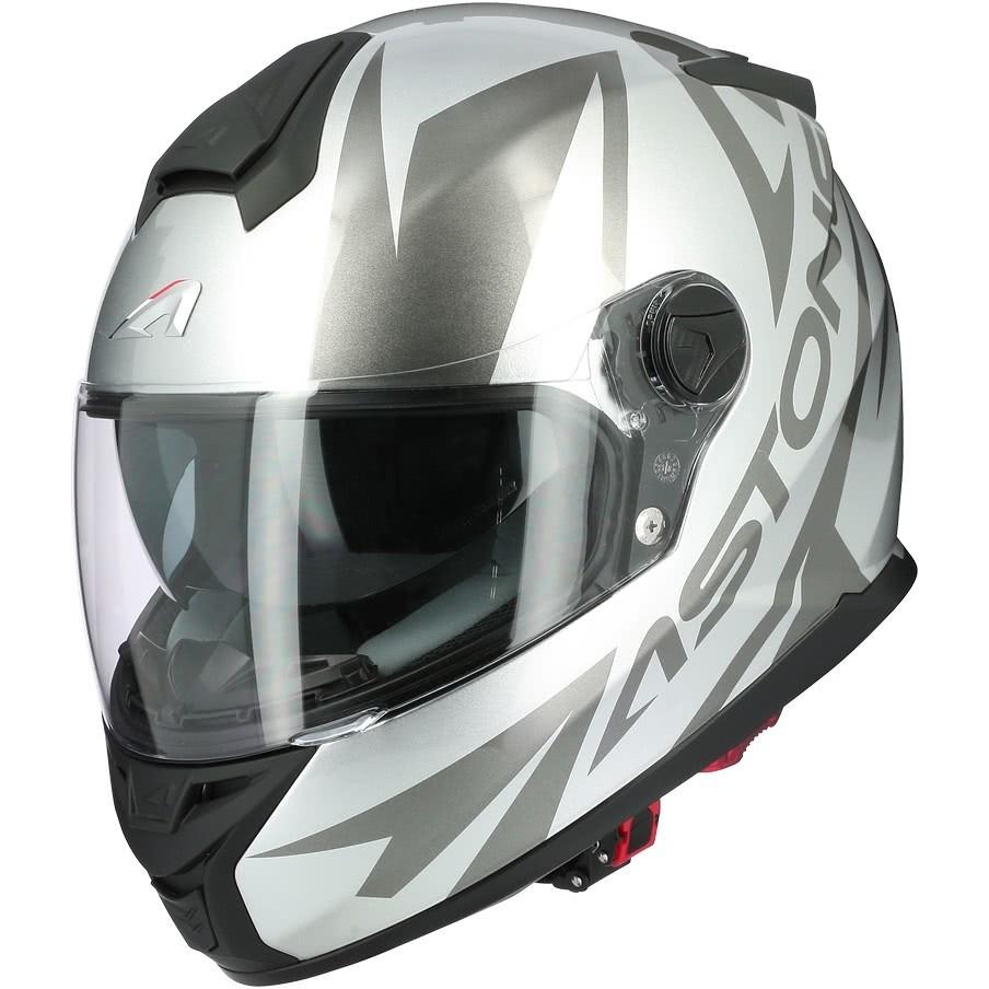 Casque moto intégral Astone GT800 Evo SKYLINE Silver Glossy Black