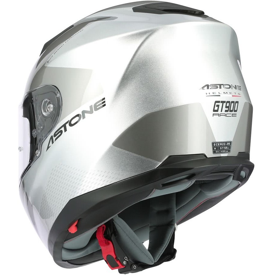 Casque moto intégral Astone GT900 RACE Glossy Silver