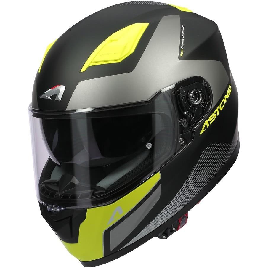 Casque Moto Intégral Astone GT900 RACE Jaune Fluo Noir