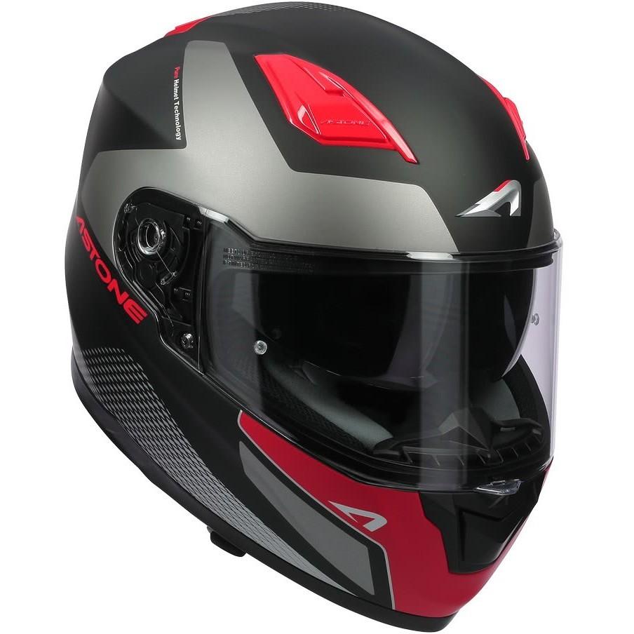 Casque Moto Intégral Astone GT900 RACE Rouge Noir Néon