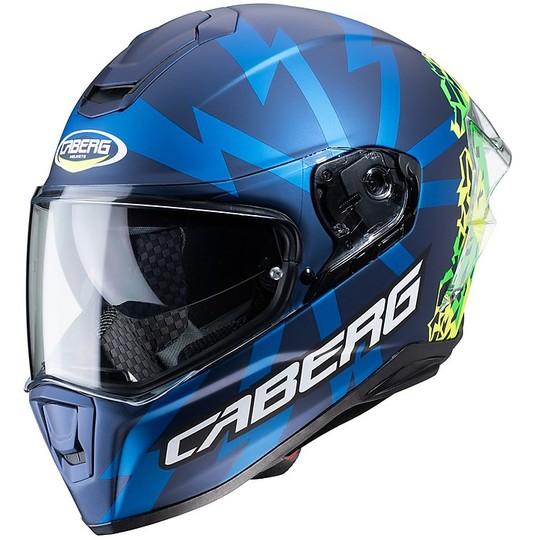 Casque moto intégral Caberg DRIFT Evo STORM Bleu Mat Vert Jaune Fluo