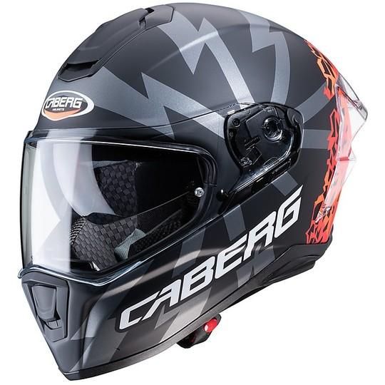 Casque Moto Intégral Caberg DRIFT Evo STORM Noir Mat Rouge Orange Fluo