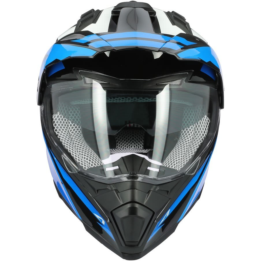 Casque Moto Intégral Cross-Enduro Astone CROSSMAX Ouragan Bleu Chrome