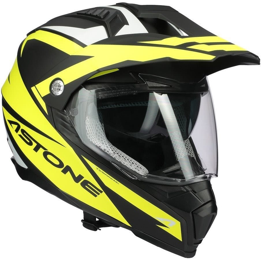 Casque moto intégral Cross-Enduro Astone CROSSMAX Ouragan Matt Fluo Yellow
