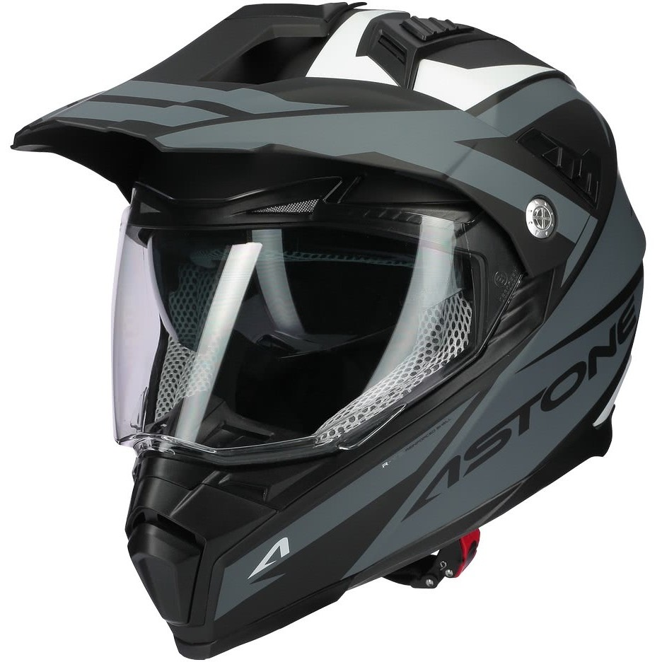 Casque moto intégral Cross-Enduro Astone CROSSMAX Ouragan Matt Grey