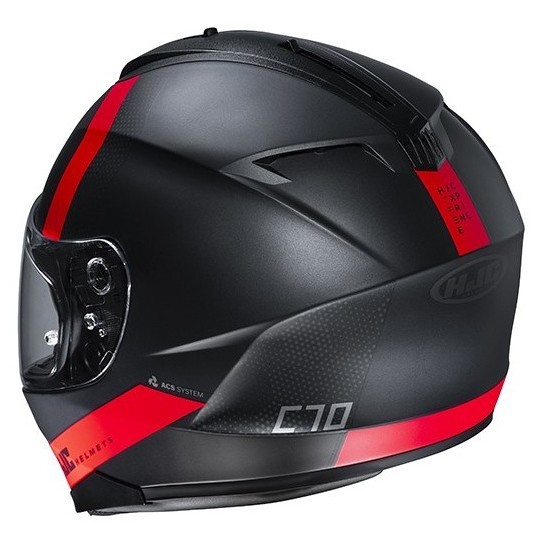 Casque Moto Intégral Double Visière HJC C70 EURA MC1SF Noir Rouge Mat
