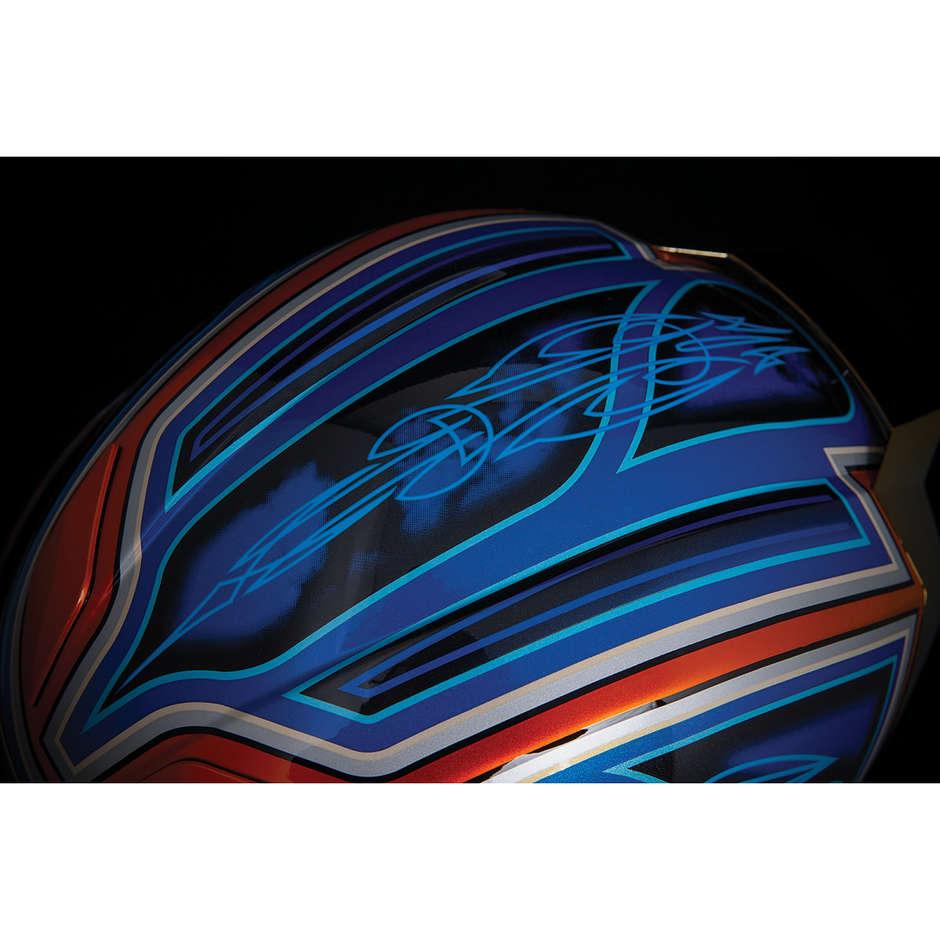 Casque Moto Intégral Double Visière Icon AIRFLITE El Centro Bleu