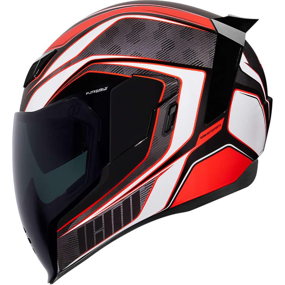 Casque Moto Intégral Double Visière Icon AIRFLITE Raceflit Rouge