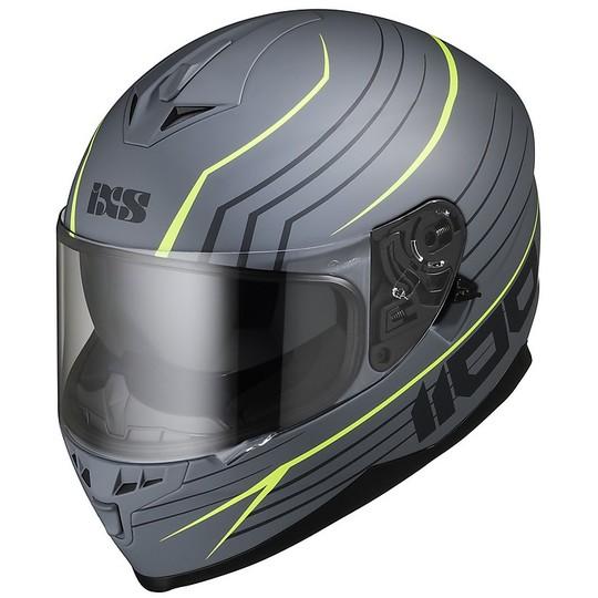 Casque Moto Intégral Double Visière Ixs 1100 2.1 Gris Mat Jaune Fluo