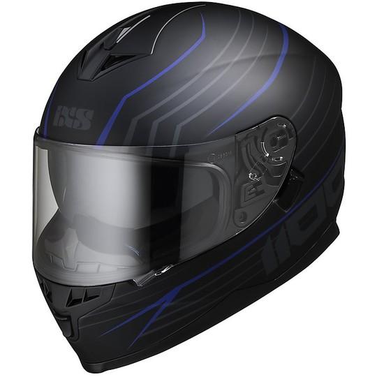 Casque Moto Intégral Double Visière Ixs 1100 2.1 Noir Mat Bleu