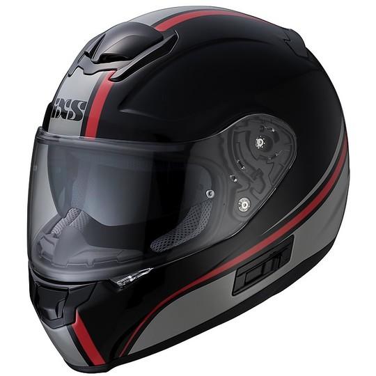 Casque Moto Intégral Double Visière Ixs 215 2.1 Noir Gris Rouge
