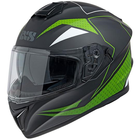 Casque Moto Intégral Double Visière Ixs 216 2.0 Noir Mat Vert