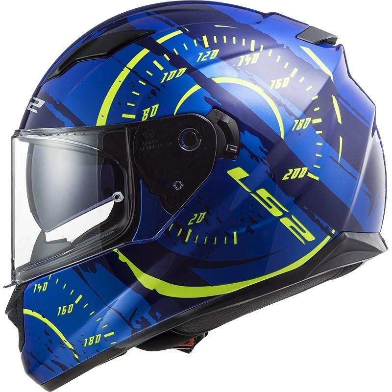 Casque Moto Intégral Double Visière Ls2 FF320 Stream Evo TACHO Bleu Jaune Fluo
