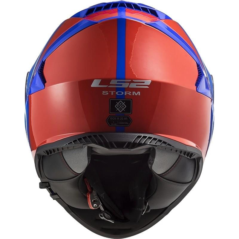 Casque Moto Intégral Double Visière Ls2 FF800 Storm SLANT Bleu Orange Fluo