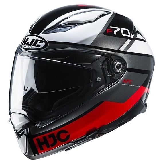 Casque Moto Intégral En Fibre HJC F70 TINO MC1 Noir Blanc Rouge