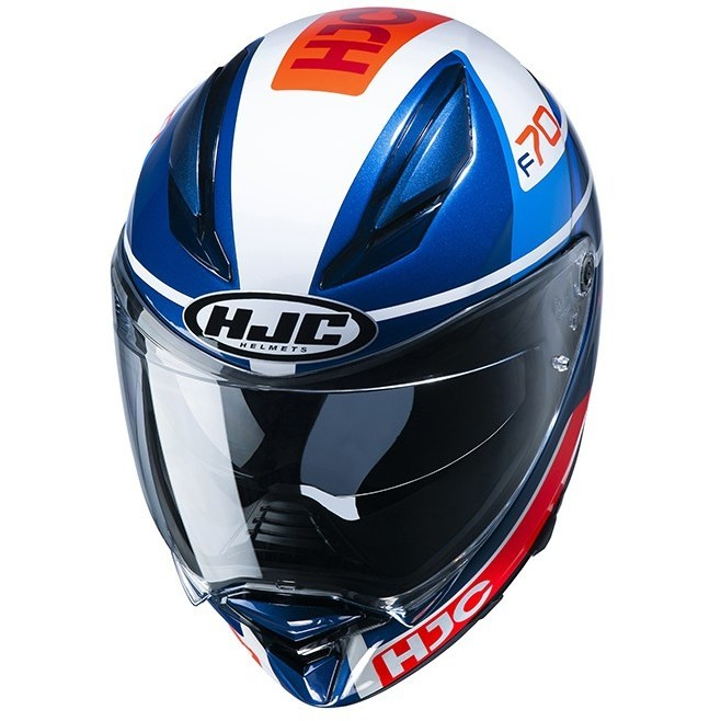 Casque Moto Intégral En Fibre HJC F70 TINO MC21 Blanc Bleu Rouge
