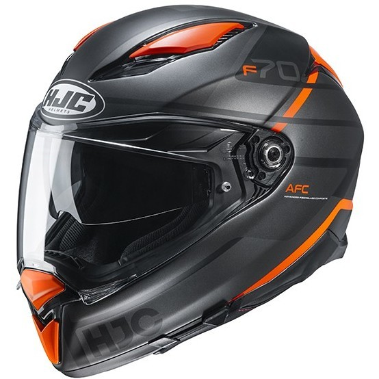 Casque Moto Intégral En Fibre HJC F70 TINO MC7SF Matt Black Orange