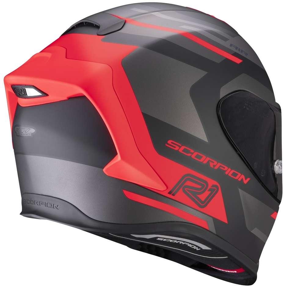 Casque Moto Intégral En Fibre Scorpion EXO-R1 AIR ORBIS Matt Black Fluo Red