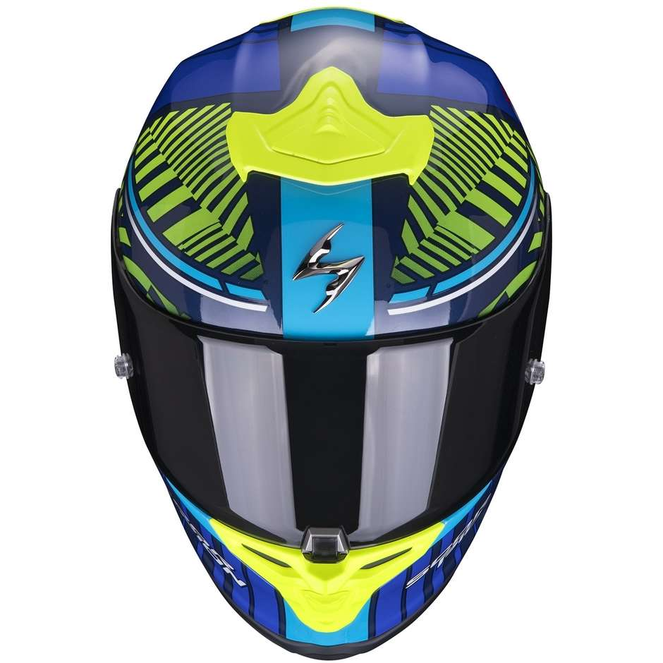 Casque Moto Intégral En Fibre Scorpion EXO-R1 AIR VICTORY Bleu Jaune Fluo