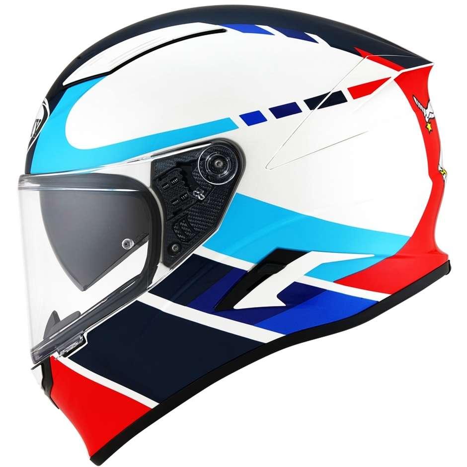 Casque moto intégral en fibre Suomy SPEEDSTAR Classic Blanc Bleu Rouge