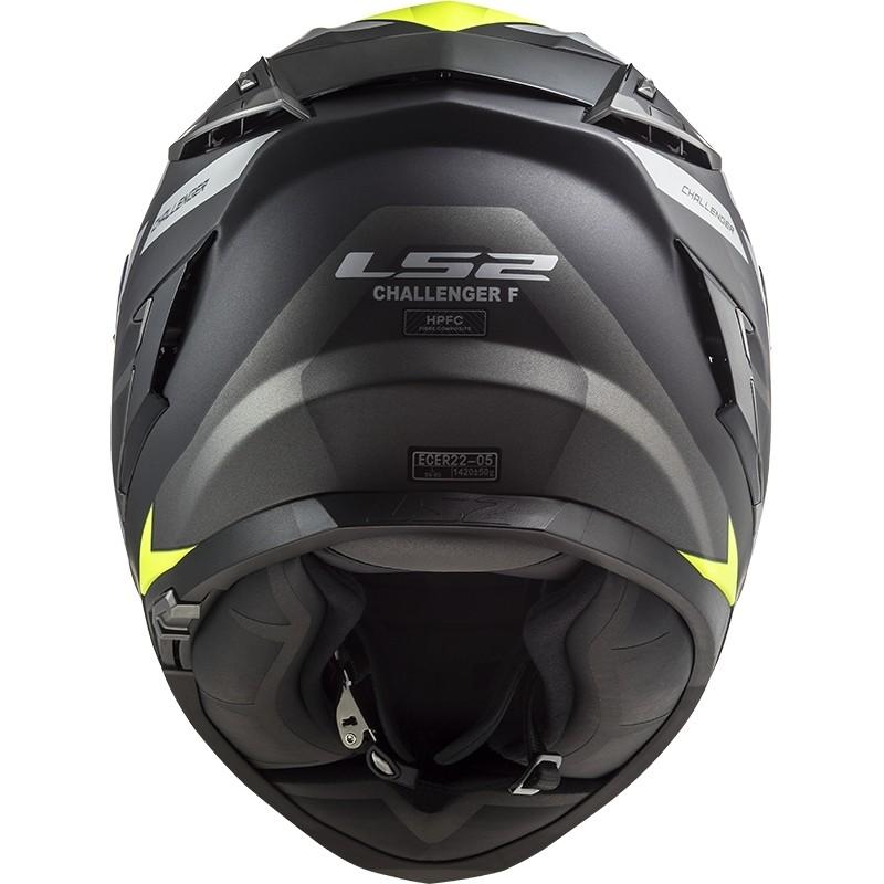 Casque moto intégral en HPFC Touring Ls2 FF327 Challenger ALLERT Matt Titanium Yellow Fluo