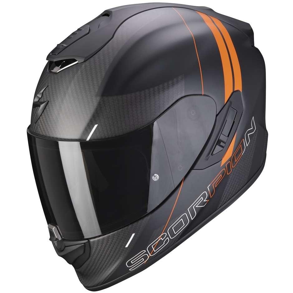 Casque Moto Intégral En Scorpion Carbon EXO-1400 CARBON AIR DRIK Matt Black Orange