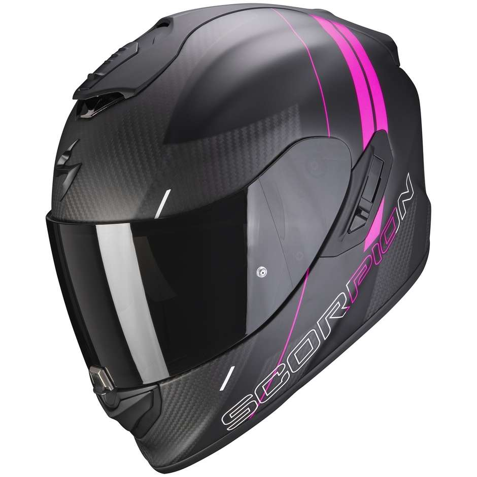 Casque Moto Intégral En Scorpion Carbon EXO-1400 CARBON AIR DRIK Matt Black Pink