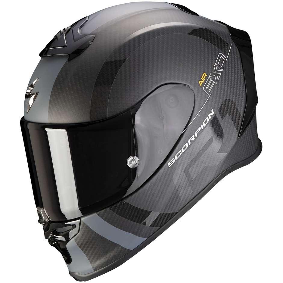Casque Moto Intégral En Scorpion Carbon EXO-R1 CARBON AIR MG Noir Mat Argent